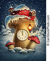 Fantasy mushroom house with a clock