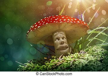 Fantasy mushroom in the forest