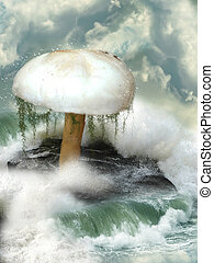 Fantasy mushroom in the sea over a big rock