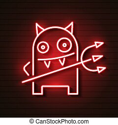 Fantasy Neon Devil, Great Design For Any Purpose. Happy Face Symbol. Smiley. Abstract Vector