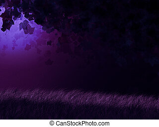 Fantasy night in forest - Abstract fantasy purple forest at...