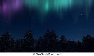 Fantasy northern lights aurora Nature scenery 4k
