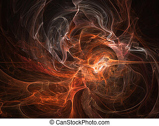 Fantasy orange white chaos abstract fractal effect light background