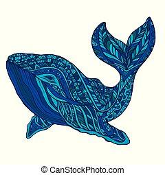 Fantasy  ornament whale, blue color