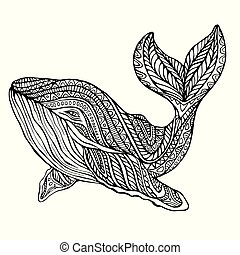 Fantasy  ornament whale, coloring page.