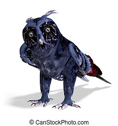fantasy owl in dark blue colors. 3D rendering with clipping ...