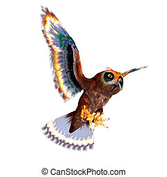 fantasy owl with rainbow colors. 3D rendering with clipping ...