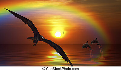Fantasy picture of a bird flying, and dolphins jumping in the sunset
