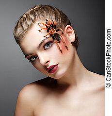 fantasy., portré, közül, gyönyörű, női, szelídítő, noha, pók