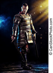fantasy - Portrait of a courageous ancient warrior in armor...