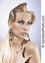 fantasy portrait of pretty blonde wearing a metallic blue make up