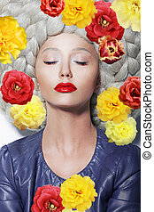 Fantasy. Portrait of Sleeping Woman with Closed Eyes and Colorful Flowers