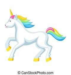Fantasy pretty white unicorn with colorful mane. Cartoon illustration