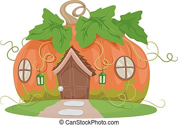 Fantasy Pumpkin House - Colorful and Whimsical Illustration...