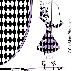 fantasy hand puppet Pierrette and brush with purple paint
