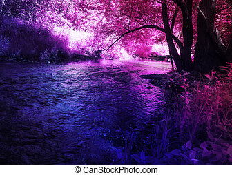 Fantasy purple forest and river