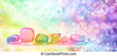 Fantasy rainbow crystal banner - Five tumbled quartz gem...