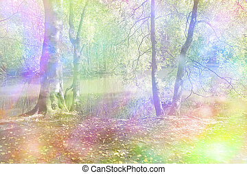Fantasy Rainbow Woodland - Woodland scene with a river in...