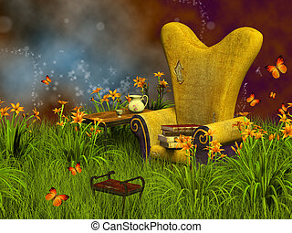 fantasy reading place - Dwarfs land, dreamyland 3D