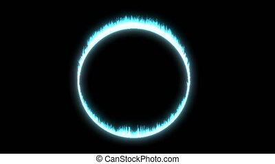 Fantasy ring fire blue on black able to loop seamless