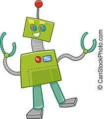 fantasy robot cartoon character - Cartoon Illustration of...