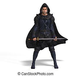 Fantasy Rogue with Sword - Rendering of a male fantasy hero...