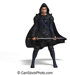 Rendering of a male fantasy hero with sword and Clipping Path over white