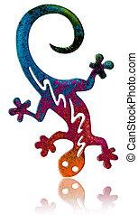 Fantasy salamander - Artistic version of a colorful...