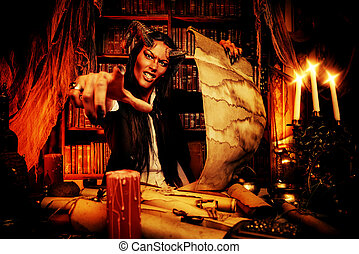 fantasy satan - Horned Devil in his home. Fantasy. Ancient...
