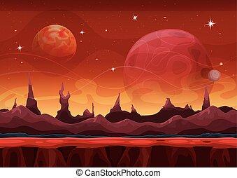 Fantasy Sci-fi Martian Background For Ui Game - Illustration...