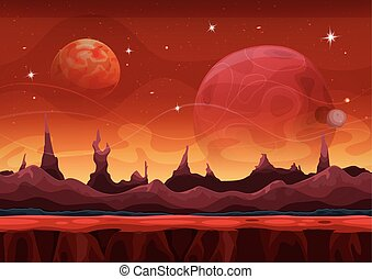 Fantasy Sci-fi Martian Background For Ui Game - Illustration...