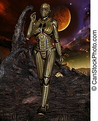 Fantasy Science Fiction Armour - 3d render of a fantasy...