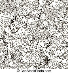 Fantasy sea and ocean seamless pattern