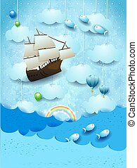 Fantasy seascape with flying ship and fishes
