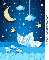 Fantasy seascape with paper boat, by night. Vector