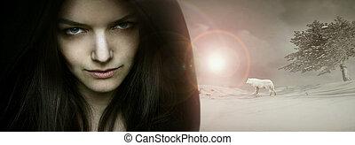 Fantasy seductive portrait - Beautiful seductive young woman...