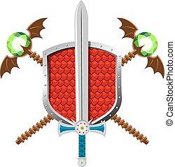 Fantasy Set with Shield, Sword nd Magic Staffs
