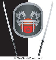 fantasy shield and swords