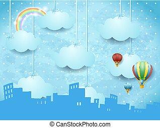 Fantasy skyline with hanging clouds, surreal landscape. Vector illustration