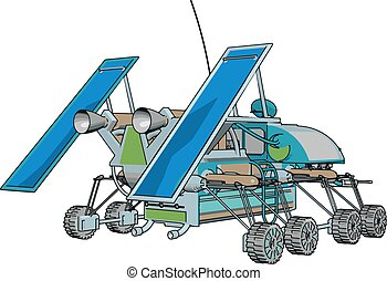 Fantasy space rover vector illustration on white background