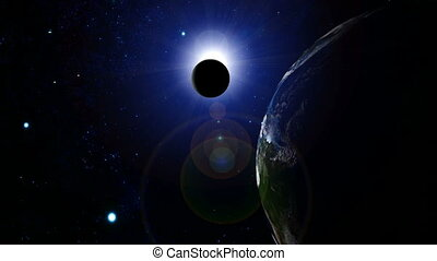 Fantasy sunrise and moon eclipse