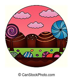 fantasy sweet candies chocolate landscape