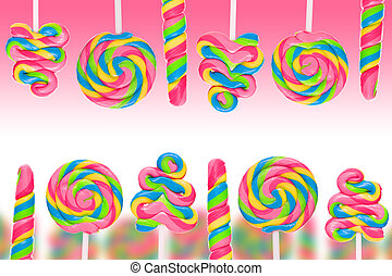 Fantasy sweet candy land with lollies on pink background