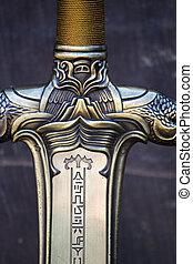 Fantasy sword detail - Close up view of a fantasy sword ...