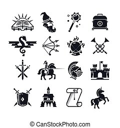 Fantasy tale black vector icons set