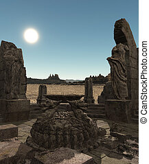 Fantasy temple ruins - 3D rendered fantasy ancient temple ...