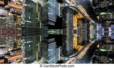 Fantasy time-lapse of tokyo city skyline with mirrored office buildings merging