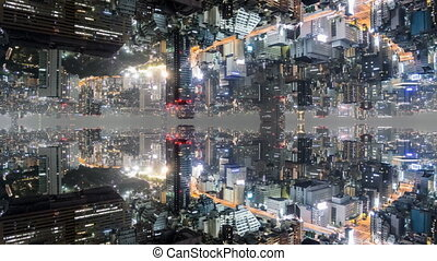 Fantasy time lapse of tokyo with mirrored buildings