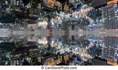 Fantasy time-lapse of tokyo with mirrored office buildings -...
