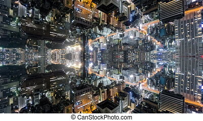 Fantasy time-lapse of tokyo with mirrored office buildings,...